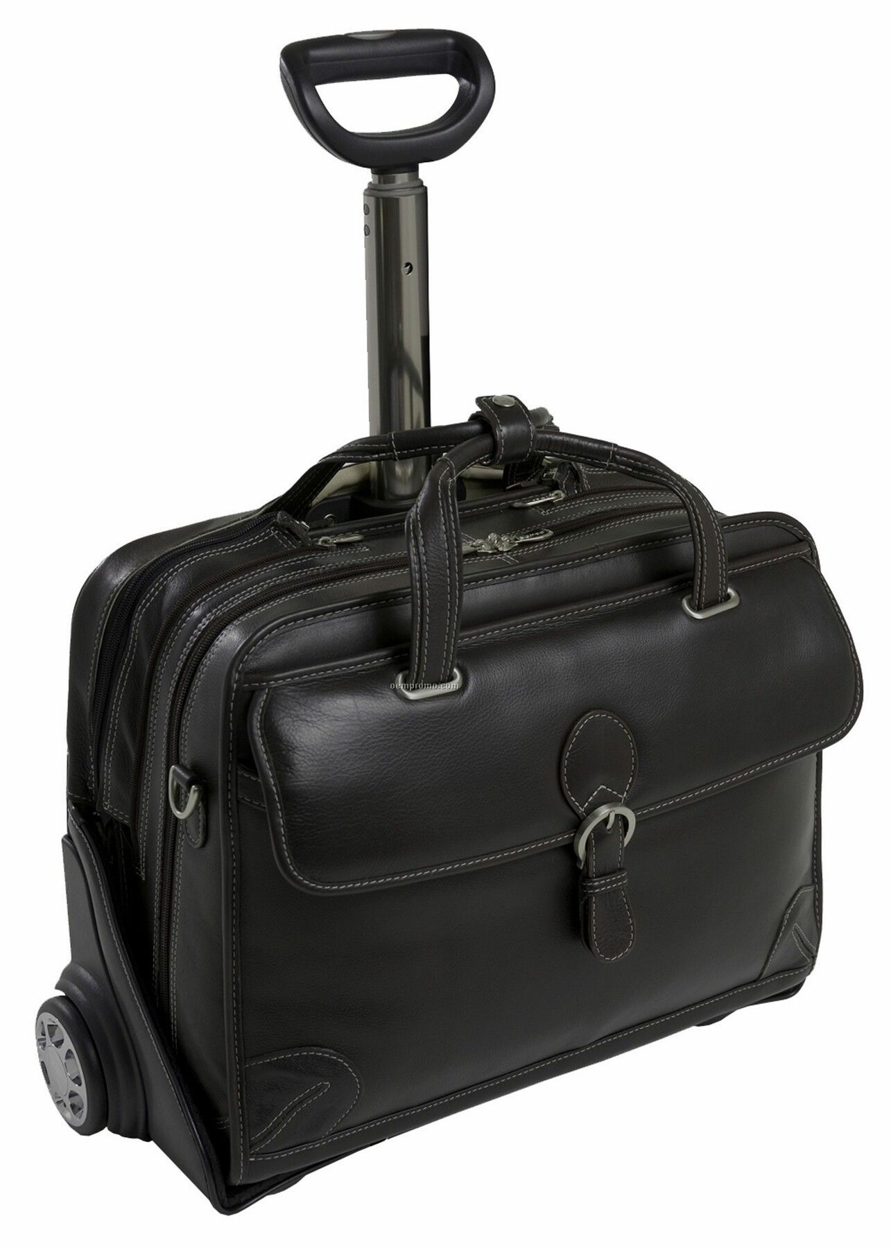Carugetto Leather Detachable Wheeled Laptop Case - Black