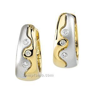 Ladies' 14ky/14kw Palladium Rhodium 1/8 Ct Tw Diamond Round Earring