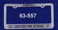 """12-1/4""""X6-1/4"""" Auto Tag Frame - United We Stand"""