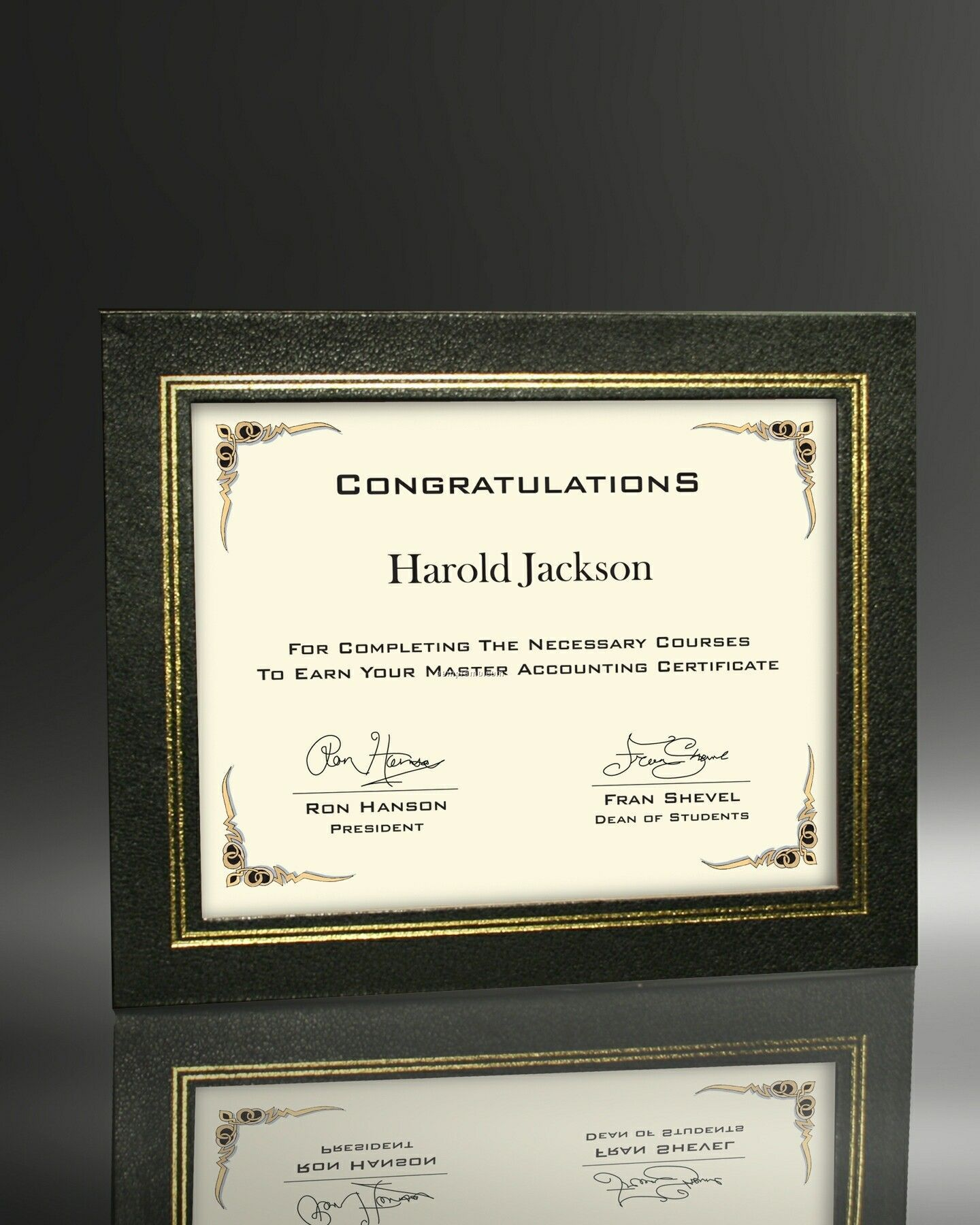 Certificate In Black Leatherette