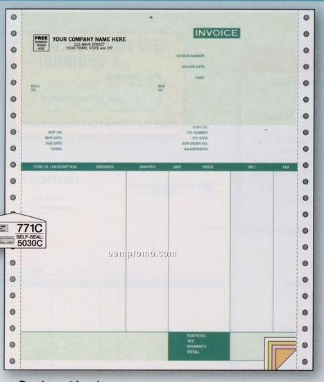 Parchment Invoice - Peachtree Compatible (4 Invoice Copies)