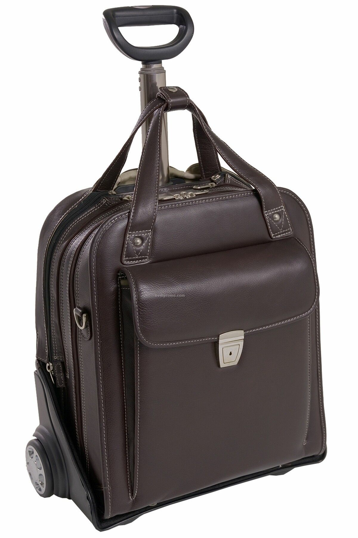 Pastenello Leather Vertical Wheeled Laptop Case - Chocolate Brown