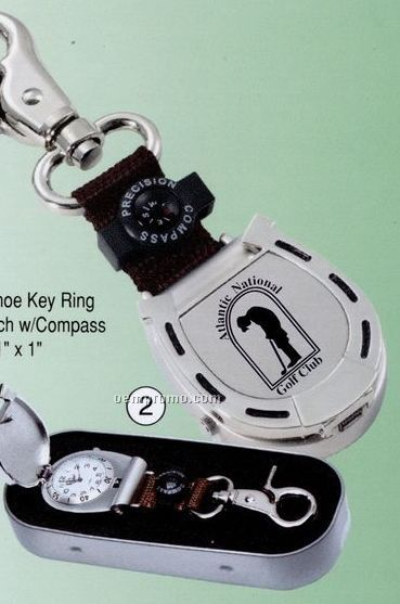 Horseshoe Key Ring Fob Watch W/ Compass