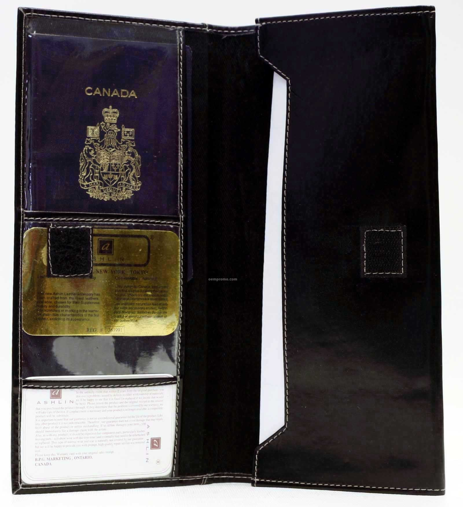 Black Napa Lambskin & Leatherette Tri Fold Ticket Holder & Wallet