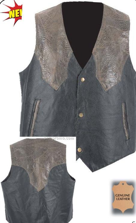 Giovanni Navarre Hand-sewn Black/ Brown Leather Western Style Vest (L)