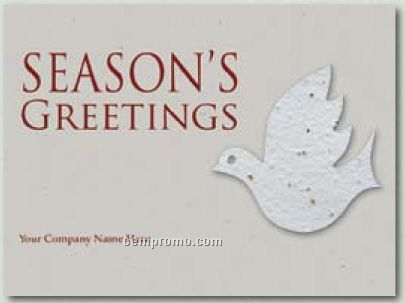 Kraft Gray Holiday Greeting Card With Dove Ornament