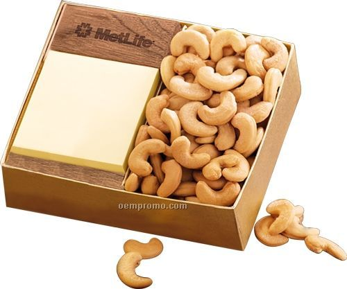 Walnut Post-it Note Holder W/ Extra Fancy Jumbo Cashews