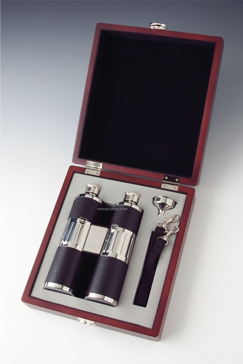 Binoculars Flask Set In Wood Box