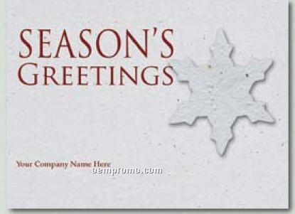 Kraft Blue Holiday Greeting Card With Snowflake Ornament