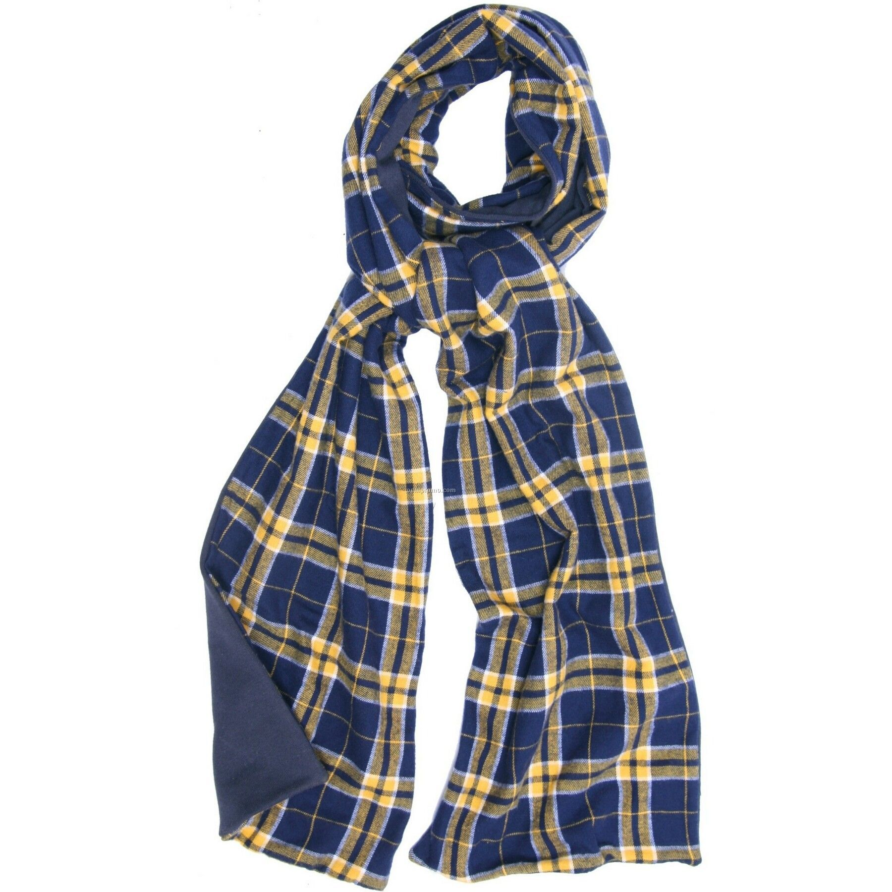 Navy Blue/Gold Flannel Scarf