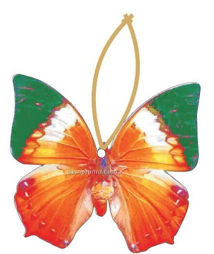 Orange & Green Butterfly Ornament W/ Mirrored Back (3 Square Inch)