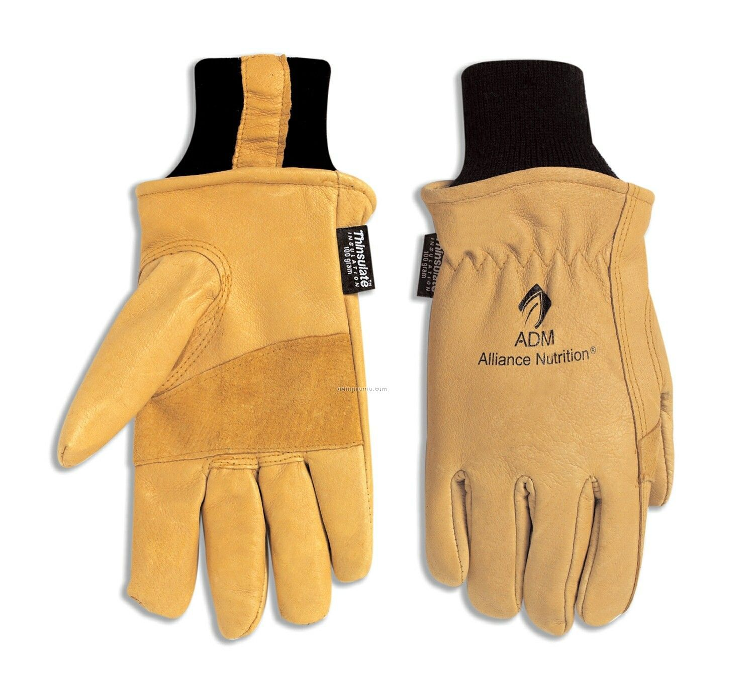 Thinsulate-lined Grain Pigskin Glove With Double Palm & Knit Wrist (S-xl)