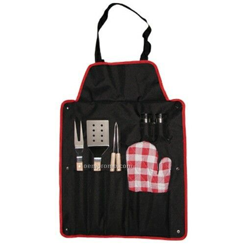 Bbq Utensil Set With Fork & Apron