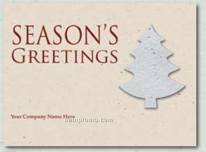 Kraft Natural Holiday Greeting Card With Tree Ornament