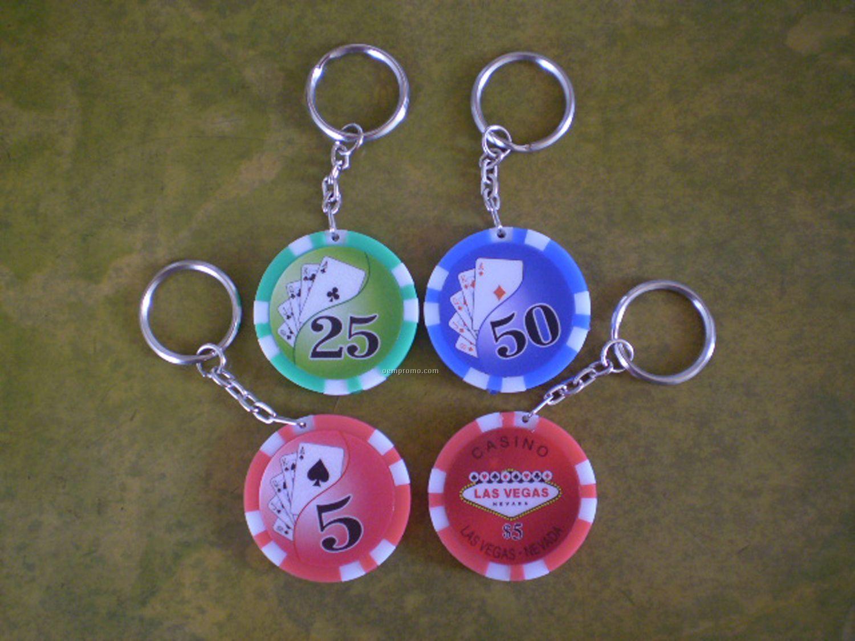LED Light Poker Chip Key Ring 2