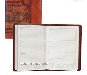 Ladies Tooled Calfskin Desk Weekly Planner (Brown)