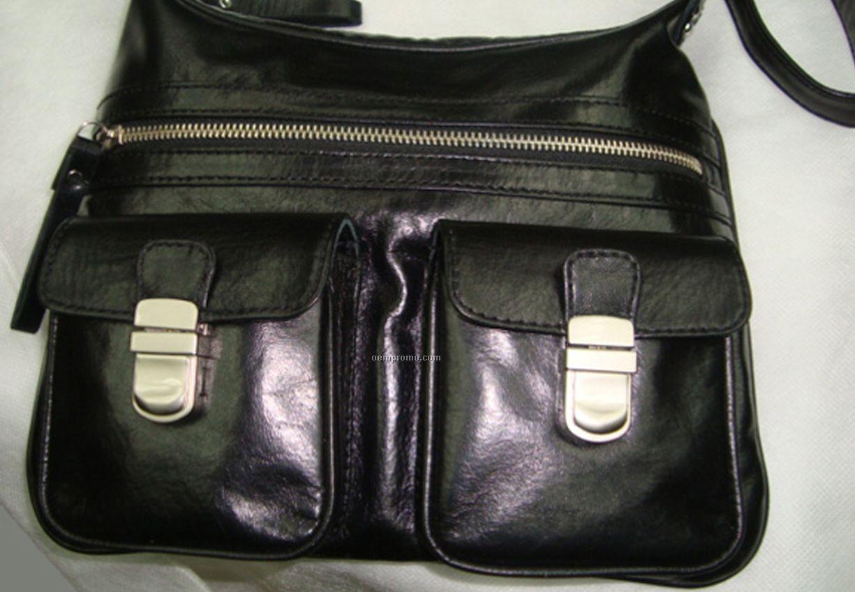 Multi Compartment Hobo Double Pocket Purse - Black