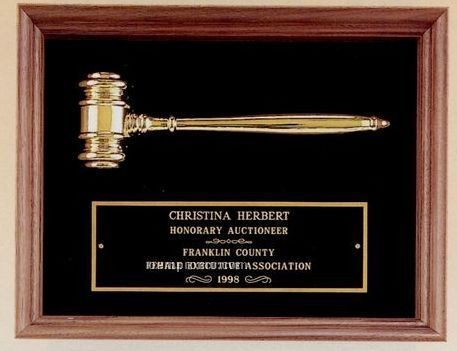 Parliament Series Plaque W/ Metal Gavel & Maroon Red Velour Background