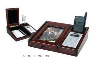 Piano Wood Desk Organizer W/ Frame/ Calculator/ Holder