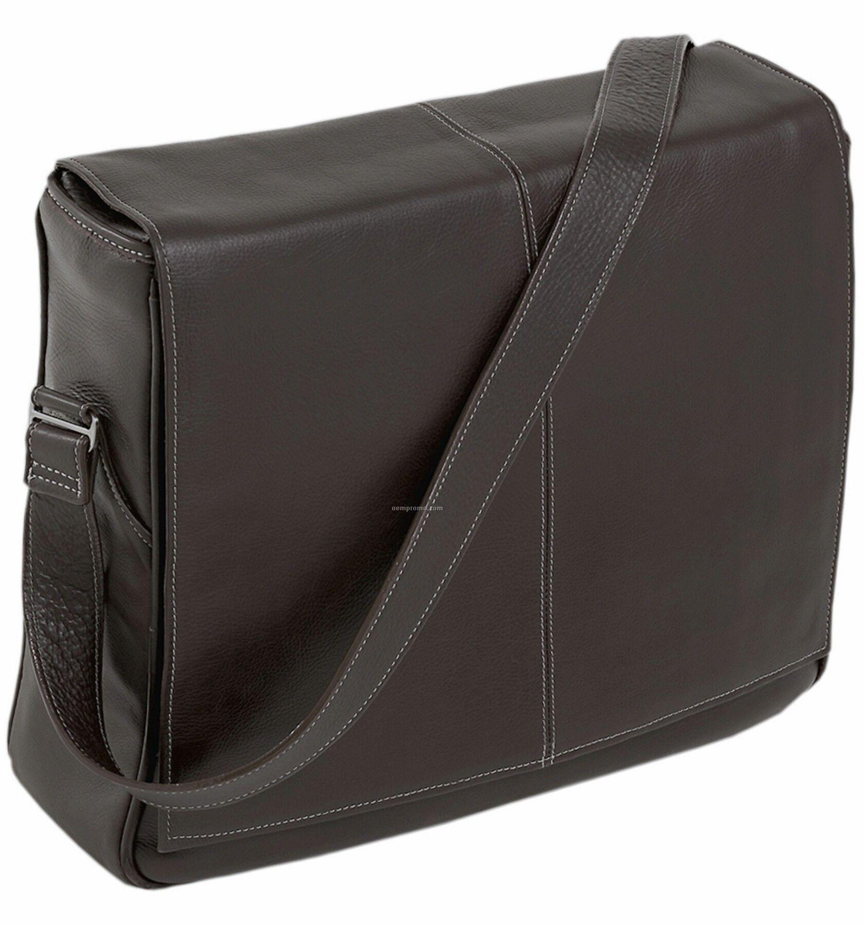 San Francesco Leather Messenger Bag - Chocolate Brown