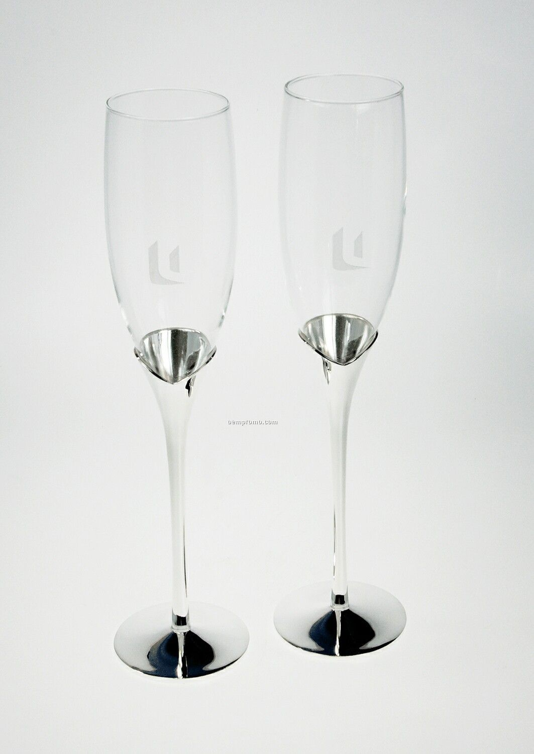 Champagne Flutes With Silver Plated Base