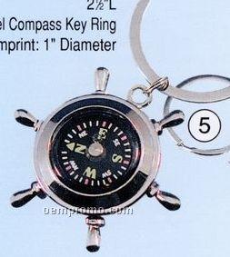 Ship Wheel Compass Key Ring