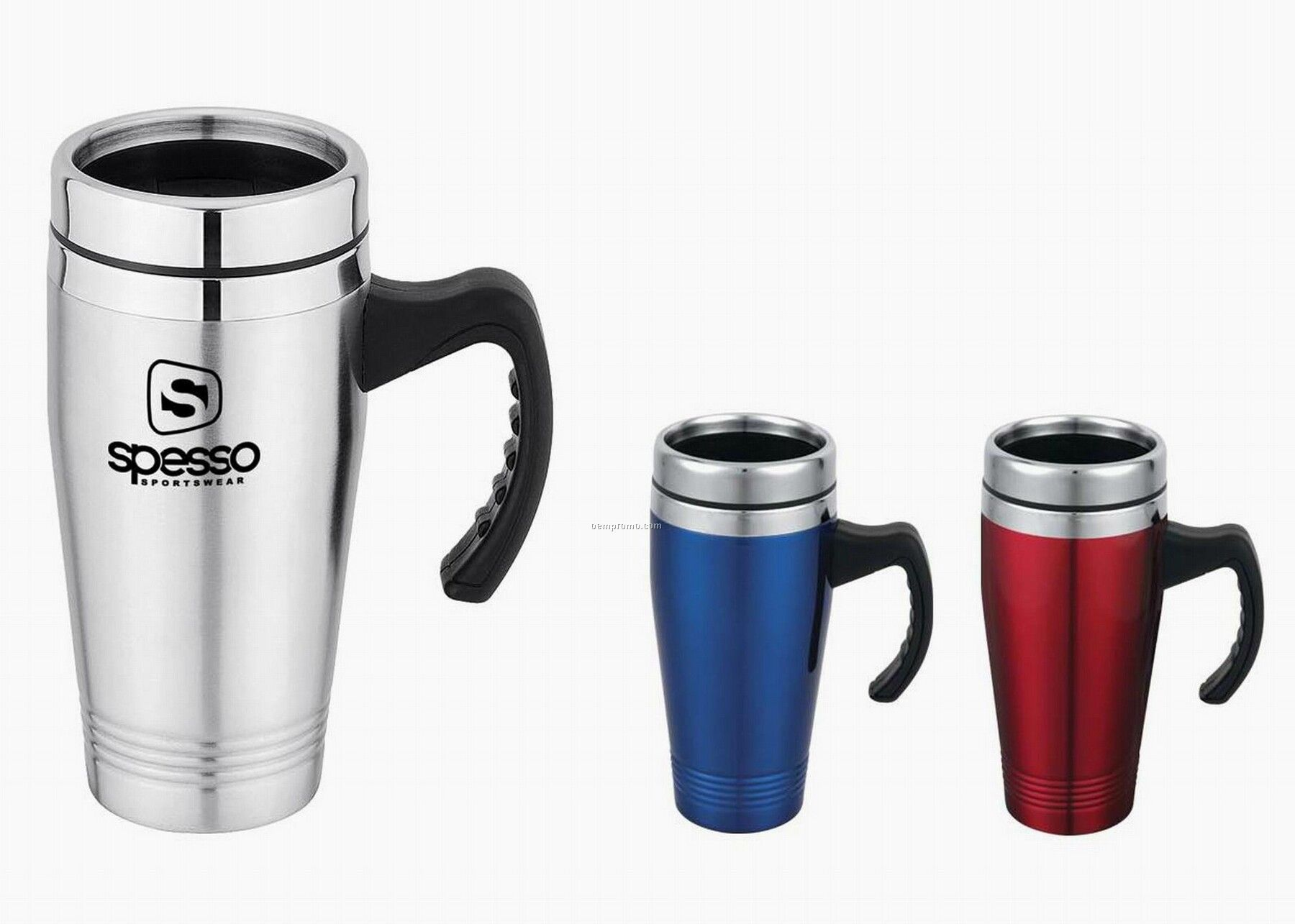 Travel Mug - 16 Oz. Double Wall Stainless Steel W/ Rubber Skid Proof Bottom