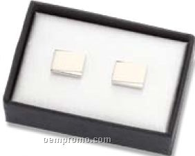 Matte Silver Metal Rectangle Cufflinks