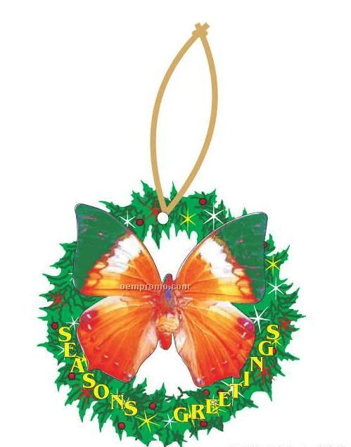 Orange & Green Butterfly Wreath Ornament W/ Mirrored Back (4 Square Inch)