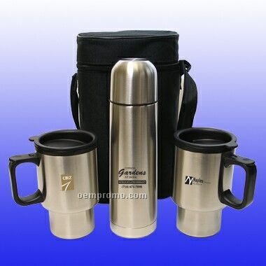 Stainless Steel Travel Mug & Thermos Set (Screened)