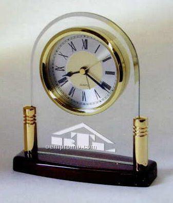 Piano Finish Wood Arch Alarm Clock - Clear