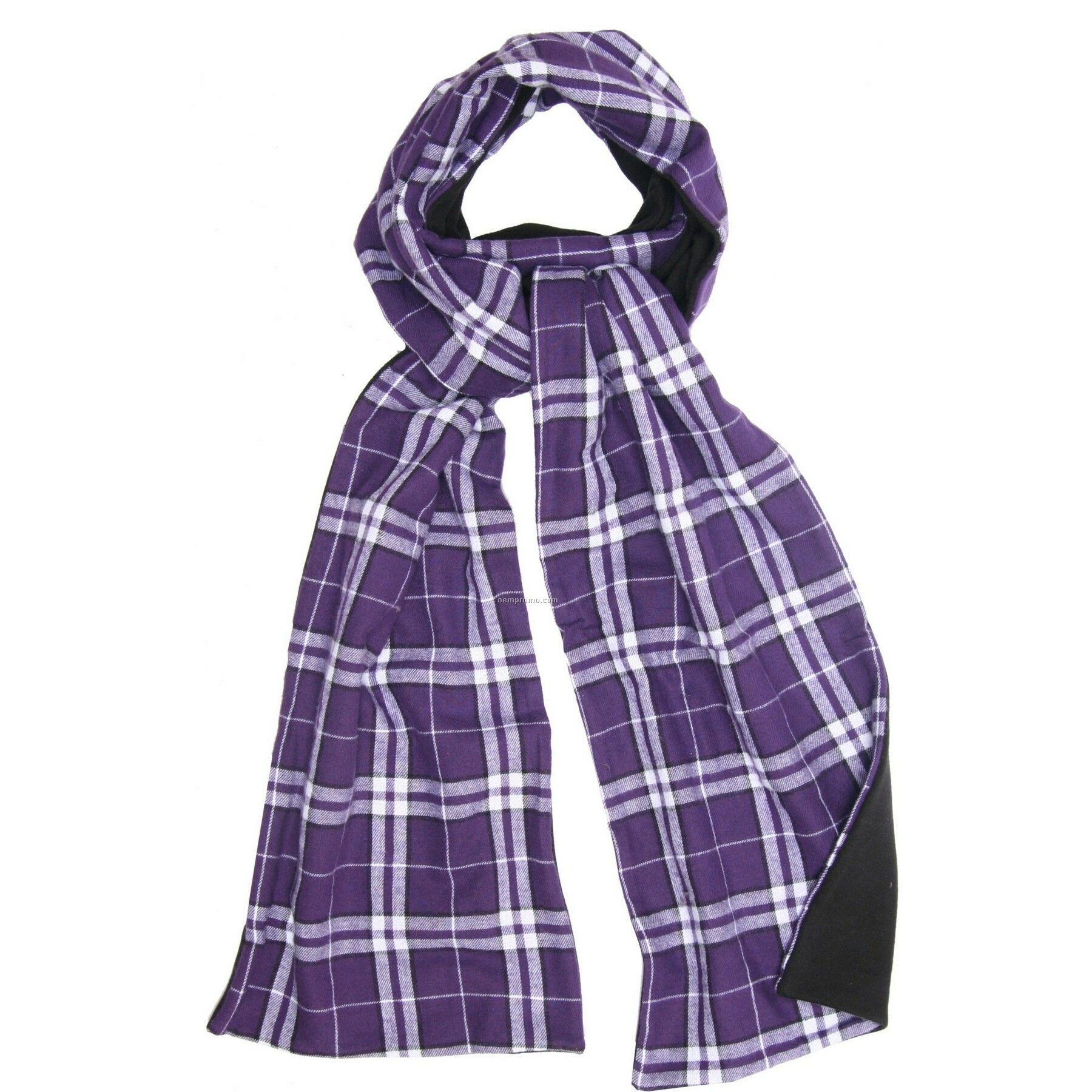 Purple/White Flannel Scarf W/Black Fleece