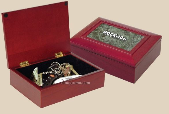 Rosewood Finish Box With Green Marble Insert