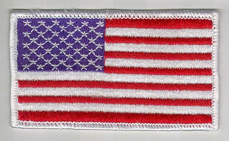 "Stock AM Flag Patch W/White Border (3.5"" X 2"")"