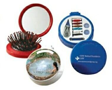 Austin Round Compact Mirror W/ Hairbrush & Sewing Kit