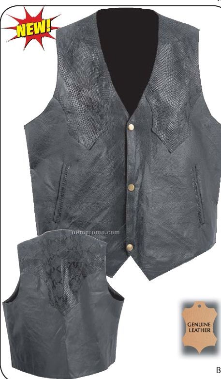 Giovanni Navarre Hand-sewn Black Leather Western Style Vest (2xl)