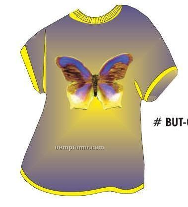 Purple & Yellow Butterfly T Shirt Acrylic Coaster W/ Felt Back