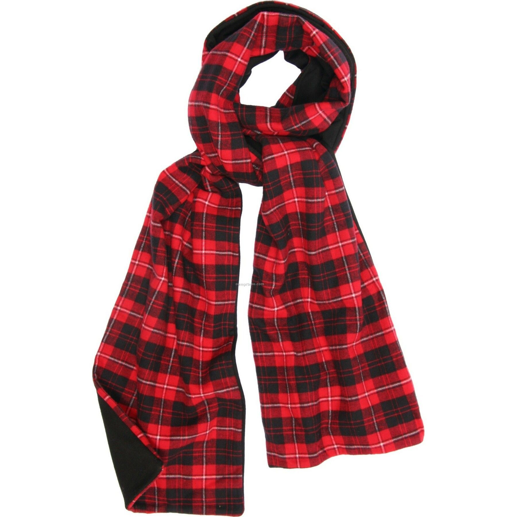 Red/Black Flannel Scarf W/Black Fleece