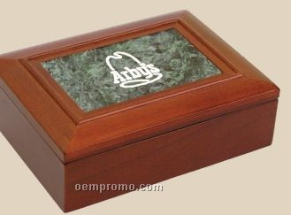 Walnut Finish Box With Green Marble Insert
