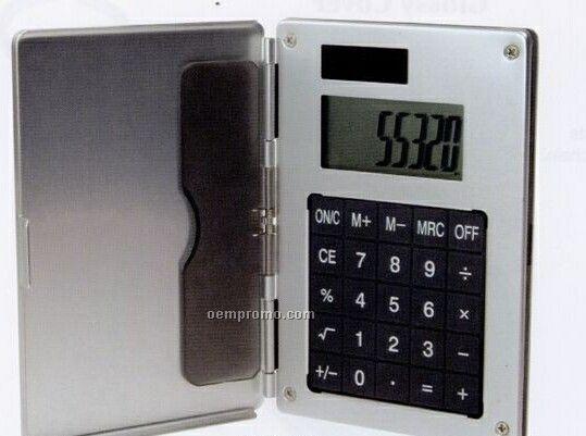 Aluminum Card Case W/ Solar Calculator