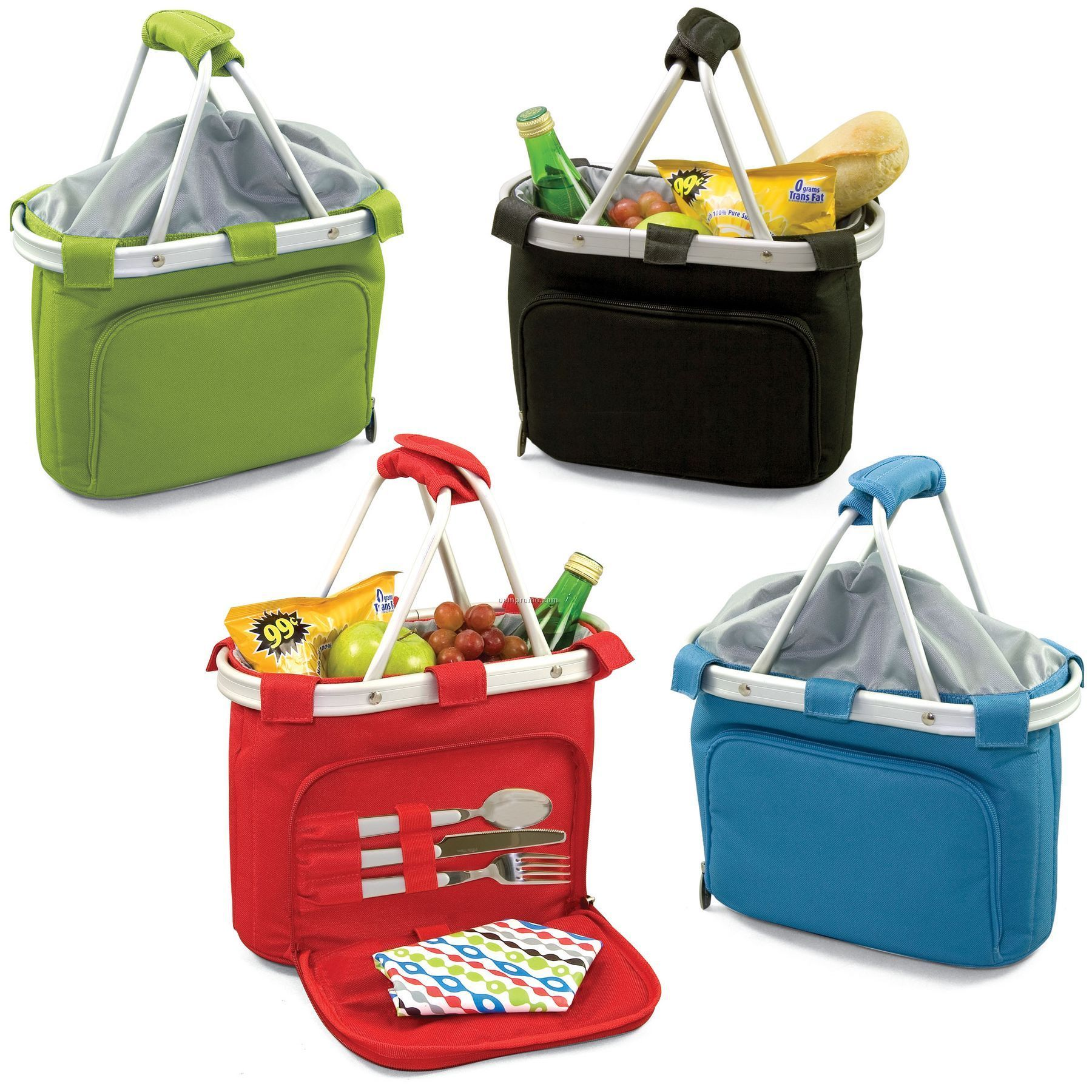 Metro Uno Insulated Tote Basket W/ Lunch Service For One (Solids)