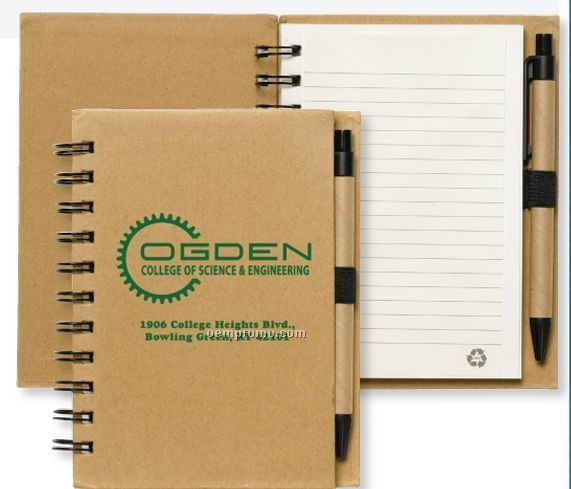 Recycled Notebook W/ Recycled Paper Pen