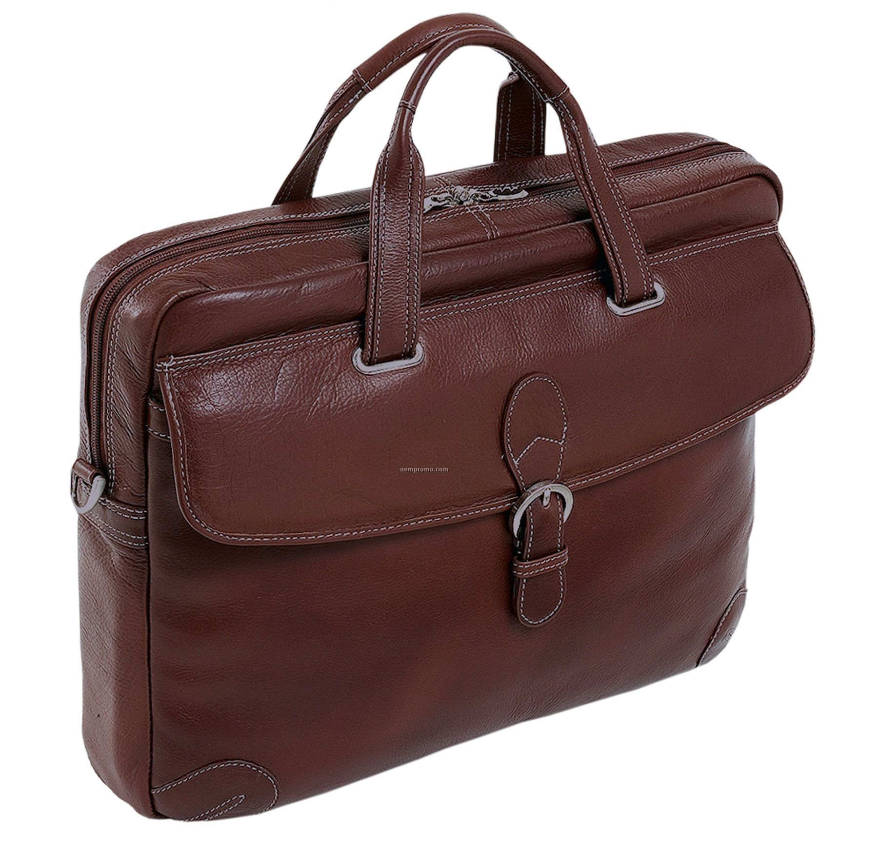 Fontanella Leather Large Laptop Brief - Cherry Red