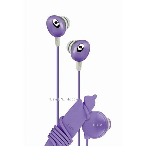 Iluv In-ear Stereo Earphone With Volume Control - Purple