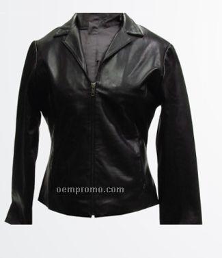 Ladies Lambskin Jacket W/Front Zipper / Dark Brown