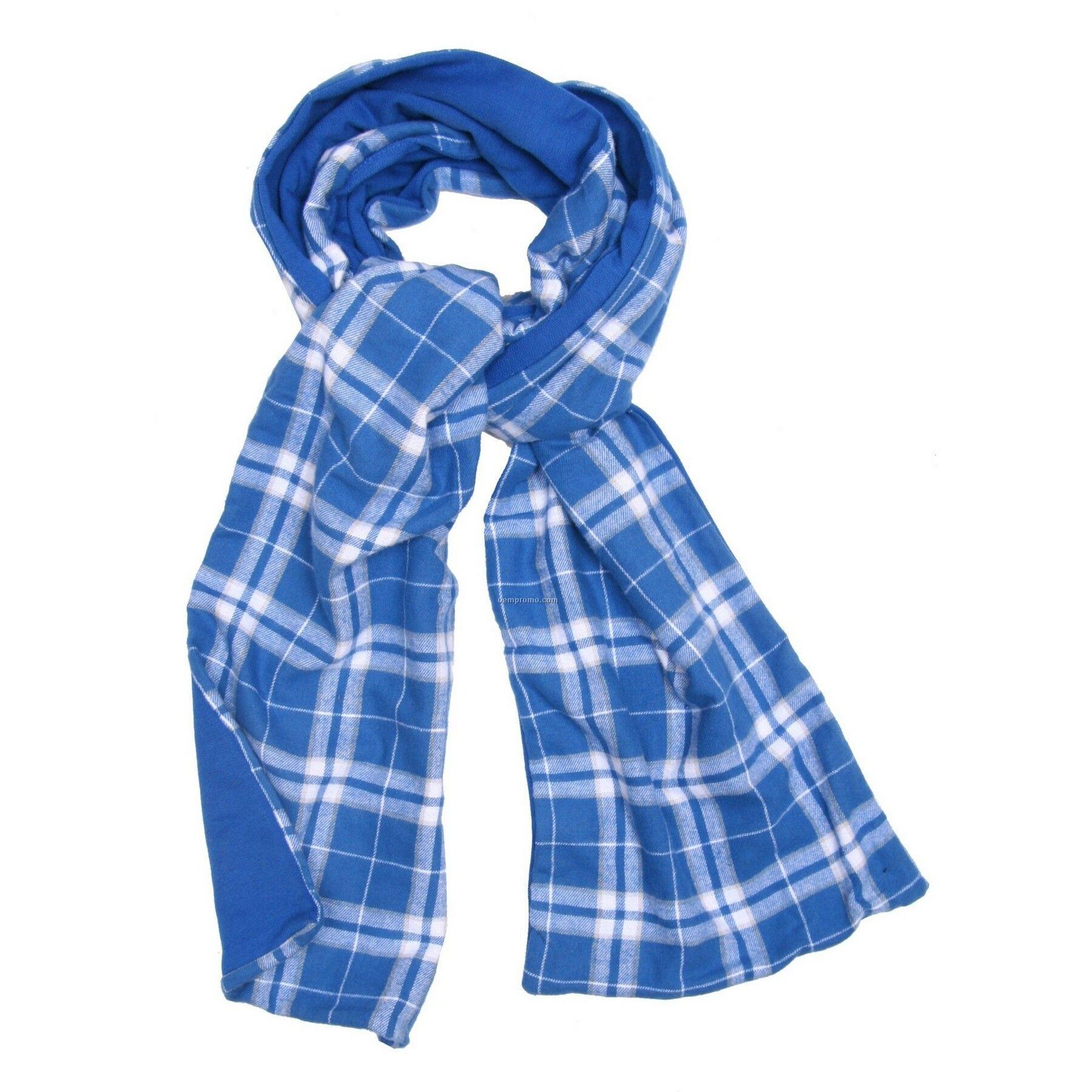 Royal Blue/Silver Flannel Scarf W/Royal Blue Fleece