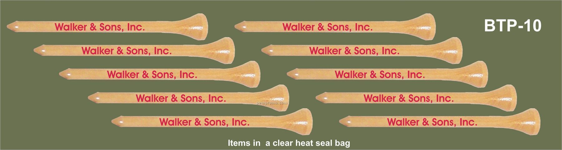 """3-1/4"""" Imprinted Golf Teepacks - 10 Tees"""