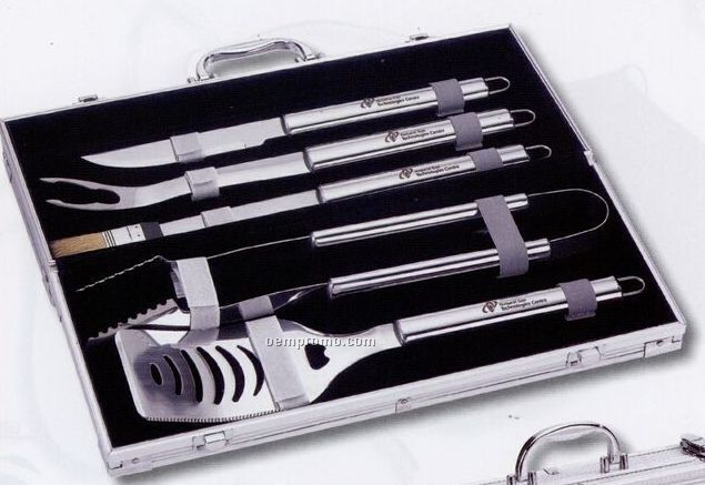5 Piece Bbq Tool Set In Silver Case