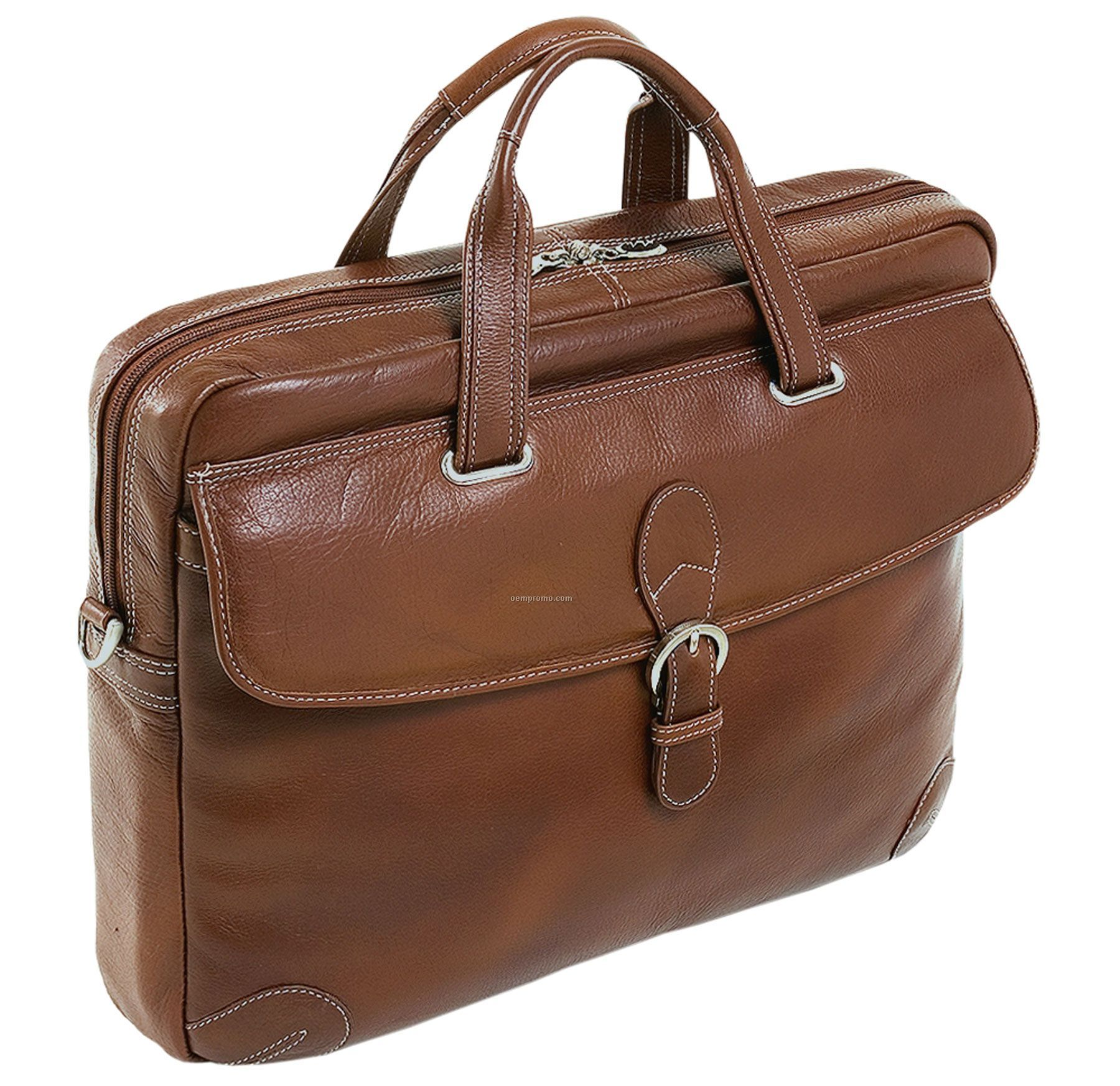 Como Leather Medium Laptop Brief - Cognac Brown