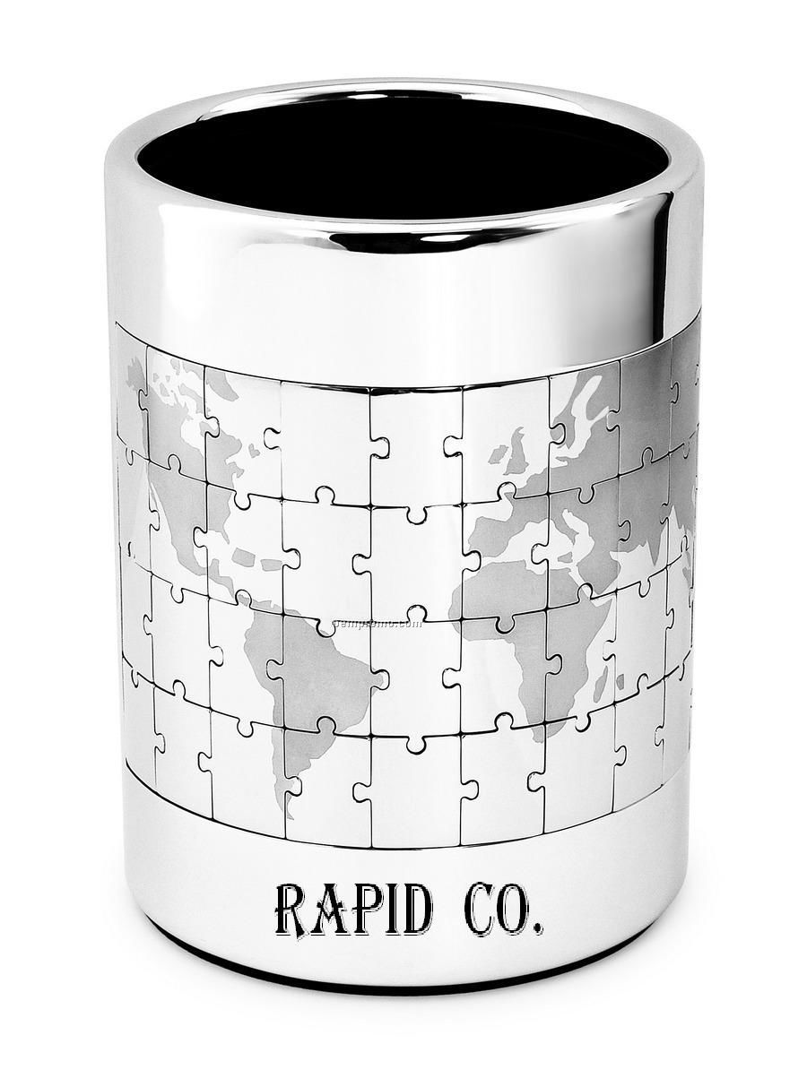 Stainless Steel Pen Stand / Holder & World Map Puzzle